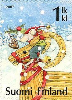 Joulupostimerkki 2007 2/2 - Olkipukki ja hiiri