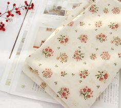 Vintage Style Floral Pattern 30s Cotton Fabric by luckyshop0228, $10.80