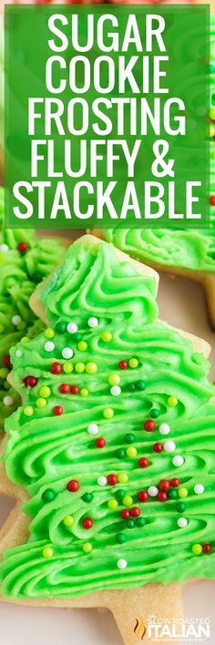 This sugar cookie frosting is light, creamy, and has the perfect amount of sweetness! Make this recipe for your Christmas cookie decorating. Mini Desserts, Cookie Desserts, Holiday Desserts, Holiday Baking, Christmas Sweets, Christmas Cooking, Christmas Recipes, Holiday Recipes, Christmas Dishes