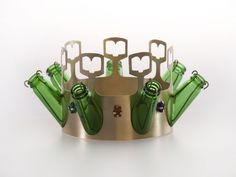 crown made of brass, glass and beer bottles