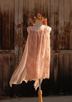 Flower Girl Dress Peach Pink Lace with Natural Silk by FoxnLily