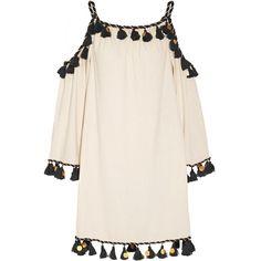 Off-the-shoulder embellished silk-noil mini dress, Women's, Size: XS (13.786.720 VND) ❤ liked on Polyvore featuring dresses, ivory, short dresses, off the shoulder dress, boho dresses, boho mini dress and off shoulder dress