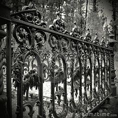 Old cast iron fence stock photo. Image of iron, graveside - 14130514 Old cast iron fence stock photo. Image of iron, graveside – 14130514 Wrought Iron Decor, Wrought Iron Fences, Cast Iron Fence, Home Fencing, Gates And Railings, Privacy Fence Designs, Black And White Prints, Unique Doors, It Cast
