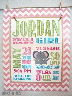 Birth statistics, personalized and made super-cute. http://www.etsy.com/listing/85278118/birth-stats-elephant-print-personalized