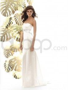 Empire Line Satin Overlay Bodice Strapless Neckline Sweep Train Wedding Dress (1015)