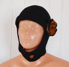 szalik i czapka uszanka komplet, filcowana, czarna - JustKa313 - Czapki