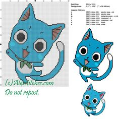 Happy (Fairy Tail) cross stitch pattern 80x102 7 colors