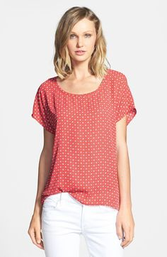 Pleione Scoop Neck Short Sleeve Blouse (Regular & Petite) available at #Nordstrom