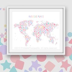 Canada Map Art Printable Pastel Pink By PrintableChangeable - Pink world map poster