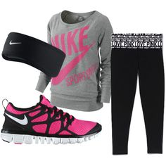 A fashion look from January 2012 featuring NIKE tops, Victoria's Secret activewear pants and NIKE athletic shoes. Browse and shop related looks.