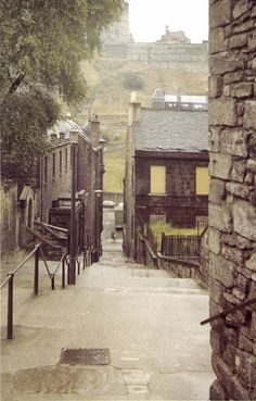 The Vennel runs down the hill beside George Heriot's school, running towards the north into the Grassmarket, opposite Edinburgh Castle.