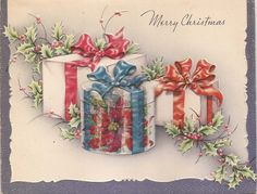 """Vintage Christmas Greeting Card ~ """"Merry Christmas"""" with beautifully wrapped gifts. * Circa, 1950's"""