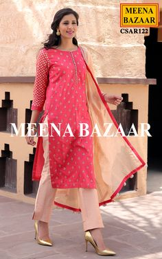 Be the epitome of sophistication with this beautiful Peach cotton suit. Featuring cotton silk kurta having zari and sequins butti, jacquard sleeves and placket with buttons. Comes with modal silk pant and chanderi dupatta with tassels on palla.