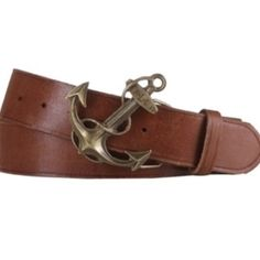 Ralph Lauren  Distressed Leather Anchor Belt Small This distressed leather belt features a logo-embossed anchor buckle that secures with a concealed stud closure. Ralph Lauren Accessories Belts