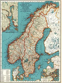 Map Denmark Norway And Sweden Vintage Antique Book Plate - Norway map to print