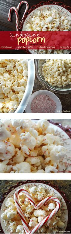 this is some amazing CANDY CANE POPCORN!! only 3 ingredients + approx 10 minutes to put together. it's also ridiculously inexpensive to make. great for christmas, neighbor gifts, every day snacking, and even valentine's day (it's red and white - it totally works!!) :) | www.livecrafteat.com