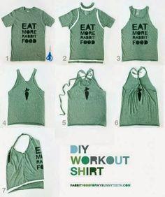 DIY T-shirt Refashion to Workout Shirt diy clothes diy refashion diy shirt diy workout (Diy Ropa Gym) Shirt Into Tank Top, Diy Kleidung, Diy Vetement, Refashioning, Diy Shirt, Diy Tank, Shirt Refashion, Clothes Refashion, Diy Gym Clothes
