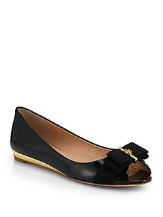Tory+Burch Trudy+Patent+Leather+Demi-Wedge+Flats