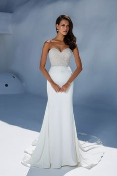 2489505e5e Justin Alexander 88004 (Dundee) - strapless Beaded Bodice with Crepe Fit  and Flare Skirt