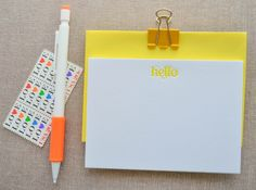Letter Writing Campaign via The Paper Chronicles // letterpress yellow hello swirls note card by Delphine