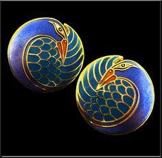 Mynah Bird - 1983 Cloisonne Enamel Post Earrings by Laurel Burch