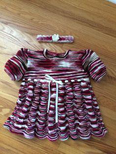 Raspberry Chocolate Shells Baby Dress with Headband by CozeeQuilts