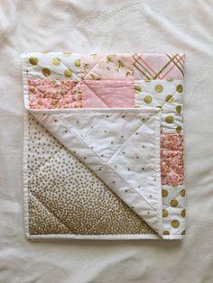 Baby Blanket, Modern Baby Quilt, Girl, Pink, Gold, White, Star, Bird, Dot, Chevron, Crib Bedding, Baby Bedding by MiniMebyAllaVera on Etsy https://www.etsy.com/listing/261029717/baby-blanket-modern-baby-quilt-girl-pink