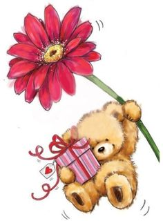 Happy Birthday Messages, Happy Birthday Images, Happy Birthday Greetings, Tatty Teddy, Cute Images, Cute Pictures, Teddy Bear Pictures, Bear Drawing, Cartoon Fish