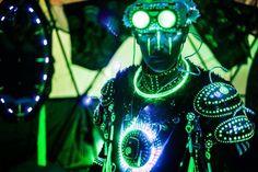 Techno Shaman preparing to depart from base camp. Burning Man 2014 Caravansary…