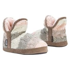 Women's MUK LUKS® Pennley Cable Knit Bootie Slippers : Target