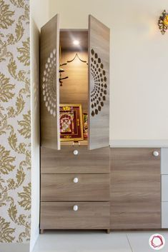 Interior Design Bangalore: Simple & Budgeted at SNN Raj Greenbay Wooden Partition Design, Living Room Partition Design, Pooja Room Door Design, Room Partition Designs, Home Room Design, Home Interior Design, Living Room Designs, Interior Doors, Wooden Temple For Home