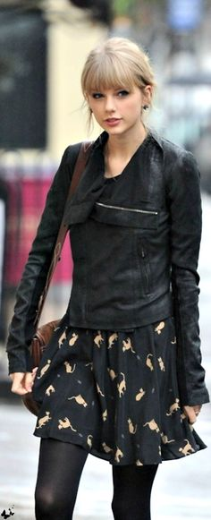 ♥ I would just like to say that I often wear my kitty dress with tights and my leather jacket... therefore Taylor Swift obviously views me as a style icon ;)