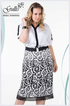 Conjunto plus size camisa em crepe com detalhe em renda e saia em viscose estampada - Kauly: http://gullislingerie.com.br/alto-verao-2016-conjunto-plus-size-camisa-crepe-detalhe-renda-saia-viscose-estampada-kauly