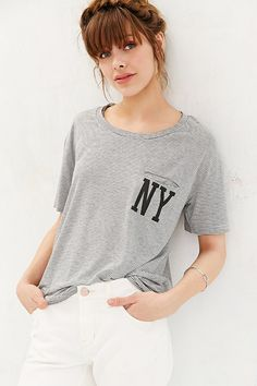 $34.00  BDG NY Striped Pocket Tee - Urban Outfitters