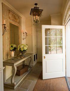 love the trumeau + sconces + lantern / jane schwab Entrance Foyer, Entry Hallway, House Entrance, Entry Mirror, Trumeau Mirror, Entry Doors, Entryway Tables, My Dream Home, Country Style