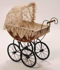This wonderfully crafted pram is great for pretend play but also looks great in a childs bedroom or play area. Pram sits on a strong steel undercarriage and includes instructions for easy assembly. Vintage Stroller, Vintage Pram, Vintage Dolls, Baby Dolls, Baby Doll Nursery, Pram Stroller, Baby Strollers, Prams And Pushchairs, Dolls Prams