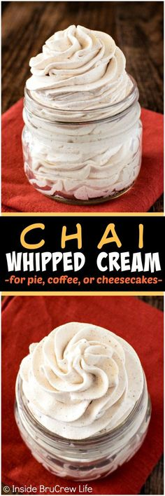 Chai Whipped Cream - adding spices makes this easy homemade recipe a great topping for desserts and coffee!