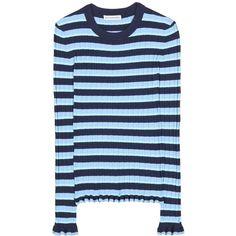Altuzarra Striped Top (14.601.485 VND) ❤ liked on Polyvore featuring tops, blue, striped top, altuzarra, blue top, blue striped top and stripe top