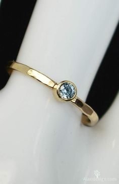 "Classic Aquamarine Ring (March's Mother's/Birthstone Ring) Minimal & Simple - 14k Yellow Gold Filled. Rustic, Everyday Ring. Perfect for a flash of gold and color on the hand, without being to ""much."""