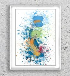 Jiminy Cricket Watercolor Print Pinocchio Poster by MulticolourArt