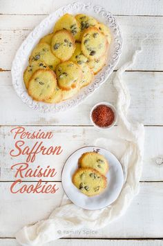 These golden and aromatic Persian Saffron Raisin Cookies are not only swoon-worthy to serve to your friends and family, but also very simple to make. Brownie Recipes, Cookie Recipes, Snack Recipes, Dessert Recipes, Raisin Cookie Recipe, Raisin Cookies, Persian Desserts, Persian Recipes, Easy Homemade Cookies