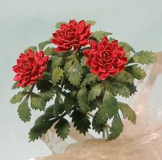 Miniature Red Dahlia in One Inch Dollhouse Scale