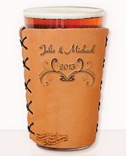 Handmade custom leather pint glass coozie for 2013 weddings