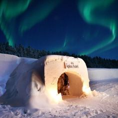 Hotel made completely out of ice and snow. Melts and is re-created every year. Sorrisniva Igloo Ice Hotel in Alta and Hidden Lodge, Norwegian Lapland. Ice Hotel, Hotel Stay, Igloo Ice, Lofoten, Northern Lights, Places To Visit, Around The Worlds, Tours, Explore