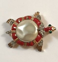 RARE-VINTAGE-GLASS-JELLY-BELLY-PEARL-034-ASIAN-SERIES-034-TURTLE-PIN-TRIFARI