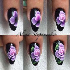 Hot Trendy Nail Art Designs that You Will Love Uñas One Stroke, One Stroke Nails, One Stroke Painting, Rose Nails, Flower Nails, Toe Nail Designs, Nail Polish Designs, Clarissa Nails, Water Nail Art