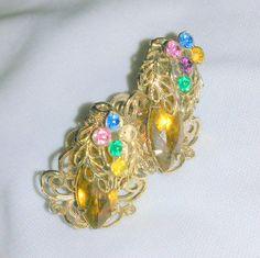 Vintage Multi Color Pastel Rhinestone Filigree Earrings  | eBay