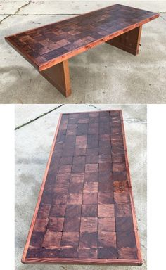 Beautiful coffee table I made out of cut down pieces of 4x4s placed in a Parquet pattern. The legs were the bottoms of pew sides.