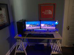 Should've made the switch a while back! Laptop Gaming Setup, Computer Workstation, Computer Setup, Pc Setup, Desk Setup, Room Setup, Ultimate Gaming Setup, Desk Inspiration, Best Pc
