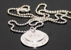 Personalized Sterling Silver Name necklace, Two Disc Pendant Grandchild names, Customized disc necklace by BelindaCarmichaelSJ on Etsy